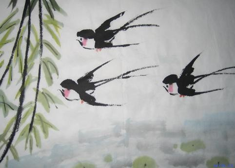柳树国画画法步骤